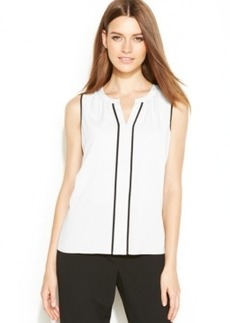 Calvin Klein Sleeveless Contrast-Trim Blouse