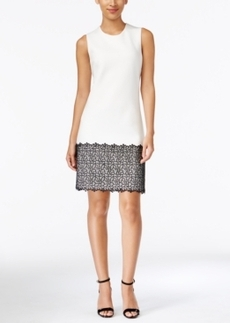 Calvin Klein Sleeveless Lace-Trim Shift Dress