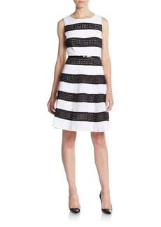 Calvin Klein Striped Cotton Eyelet Fit-&-Flare Dress