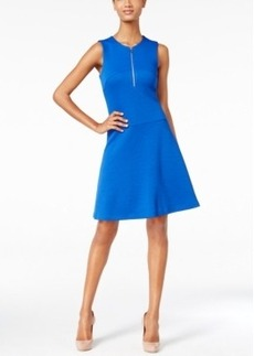 Calvin Klein Textured Half-Zip Fit & Flare Dress