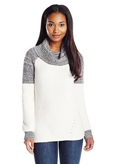 Calvin Klein Women's Cowl Neck Sweater with Marled Blocking