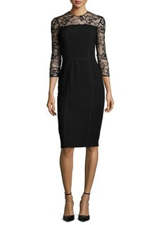 Carmen Marc Valvo 3/4-Sleeve Lace-Trim Cocktail Dress