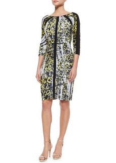 Carmen Marc Valvo 3/4-Sleeve Leopard-Print Ruched Dress  3/4-Sleeve Leopard-Print Ruched Dress