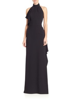 Carmen Marc Valvo Backless Ruffle Halter Gown
