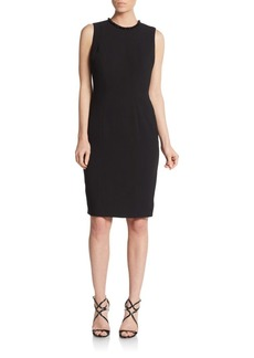 Carmen Marc Valvo Beaded Crepe Sheath Dress