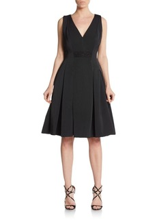 Carmen Marc Valvo Beaded Faille Fit-And-Flare Dress