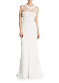 Carmen Marc Valvo Beaded Illusion Gown