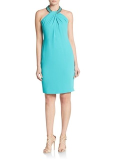 Carmen Marc Valvo Beaded Neck Toga Dress