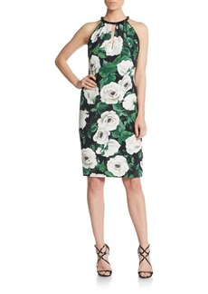 Carmen Marc Valvo Beaded-Neckline Floral Silk Dress