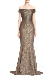 Carmen Marc Valvo Beaded Off the Shoulder Lace Mermaid Gown