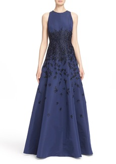 Carmen Marc Valvo Beaded Silk Faille Fit & Flare Gown