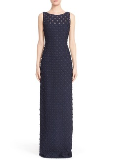 Carmen Marc Valvo Circle Appliqué Sleeveless Column Gown