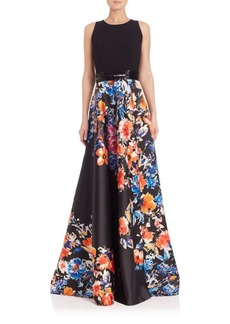 Carmen Marc Valvo Crepe-Bodice Floral Ball Gown