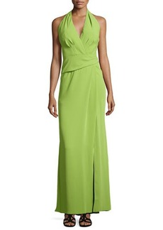 Carmen Marc Valvo Crepe Halter Gown with Front Slit  Crepe Halter Gown with Front Slit