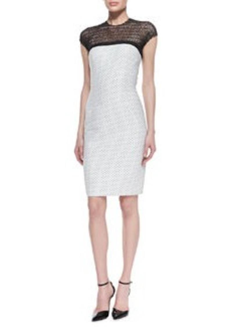 Carmen Marc Valvo Dotted Sheath Dress with Illusion Neckline