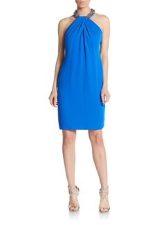 Carmen Marc Valvo Embellished Crepe Shift Dress