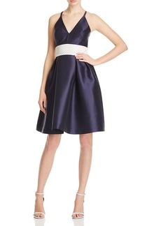 Carmen Marc Valvo Embellished Cross Back Dress