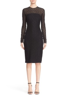 Carmen Marc Valvo Embellished Illusion Lace Knit Sheath Dress