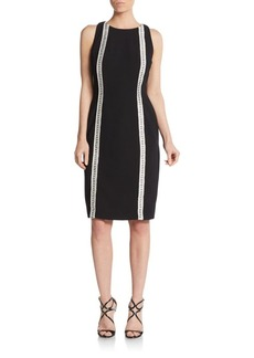 Carmen Marc Valvo Beaded Crepe Cocktail Dress
