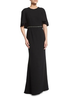 Carmen Marc Valvo Embellished-Waist Capelet Gown