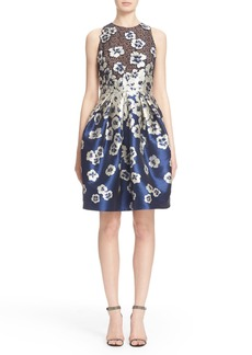 Carmen Marc Valvo Floral Appliqué Cutaway Cocktail Dress