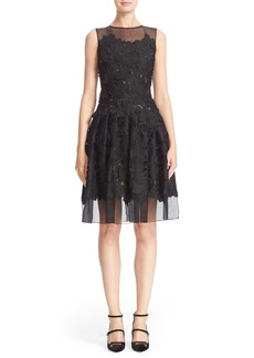 Carmen Marc Valvo Floral Appliqué Sleeveless Organza Dress