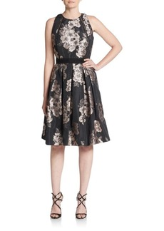 Carmen Marc Valvo Floral Jacquard Dress
