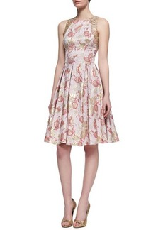 Carmen Marc Valvo Floral-Print Sleeveless Golden Jacquard Dress