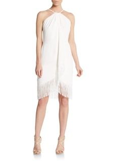 Carmen Marc Valvo Fringe Toga Dress