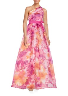 Carmen Marc Valvo Infusion Asymmetrical Floral Gown