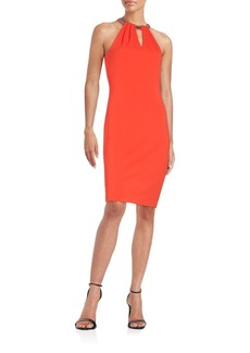 Carmen Marc Valvo Infusion Bead-Neck Sheath Dress