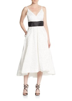 Carmen Marc Valvo Infusion Beaded Jacquard Fit-And-Flare Dress