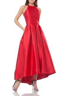 Carmen Marc Valvo Infusion Beaded Mikado Fit & Flare Dress