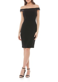 Carmen Marc Valvo Infusion Beaded Off the Shoulder Crepe Sheath Dress