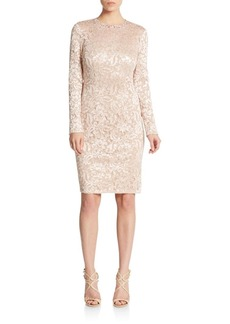 Carmen Marc Valvo Infusion Embellished Lace Shift Dress