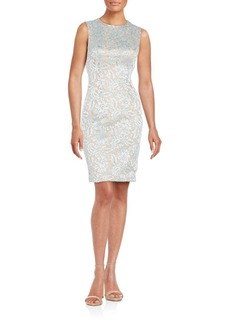 Carmen Marc Valvo Infusion Jewel Neck Sheath Dress