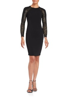 Carmen Marc Valvo Infusion Long Sleeve Lace Sheath Dress