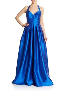 Carmen Marc Valvo Infusion Mikao Pleated Halter Gown