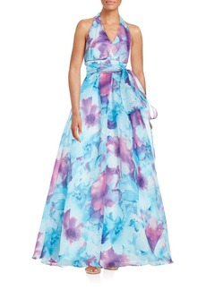 Carmen Marc Valvo Infusion Printed Organza Gown
