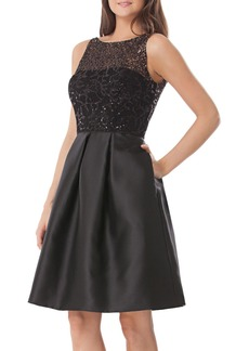 Carmen Marc Valvo Infusion Sequin Lace & Mikado Fit & Flare Dress