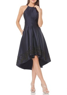 Carmen Marc Valvo Infusion Sequin Satin Fit & Flare Dress