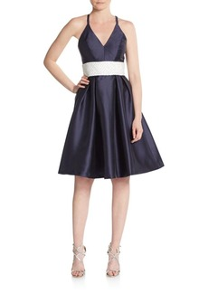 Carmen Marc Valvo Infusion Shantung Fit-And-Flare Dress