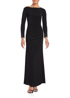 Carmen Marc Valvo Infusion Solid Long Sleeve Gown