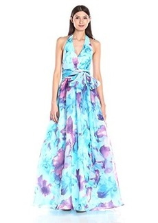 Carmen Marc Valvo Infusion Women's V Neck Printed Organdy Halter Ballgown W/ Large Self Sash