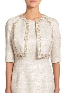 Carmen Marc Valvo Jacquard-Trim Tweed Jacket