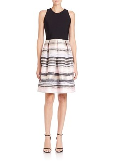 Carmen Marc Valvo Knit Striped Dress