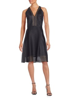 Carmen Marc Valvo Mesh V-Neck Dress
