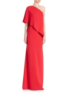 Carmen Marc Valvo One-Shoulder Crepe Maxi Gown