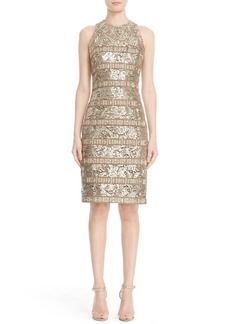 Carmen Marc Valvo Panel Detail Sleeveless Lace Sheath Dress