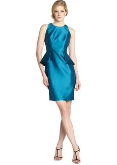Carmen Marc Valvo peacock sateen peplum sleeveless...